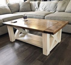 Woodworking Plans DIY Coffee Table features chunky farmhouse legs perfect for the home living room - Free woodworking plans Diy Furniture Plans, Farmhouse Furniture, Woodworking Furniture, Woodworking Plans, Woodworking Projects, Wood Projects, Popular Woodworking, Woodworking Basics, Woodworking Videos