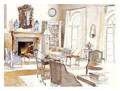 hand painted and drawn renderings via @Hadley Court