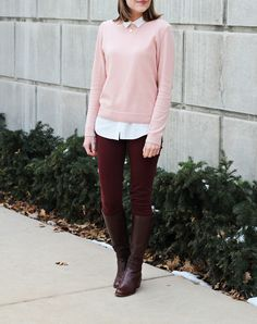 Blush pink sweater, collared blouse, burgundy pants, brown tall boots
