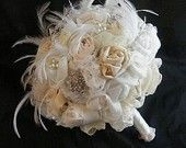 Bouquet with broaches and feathers
