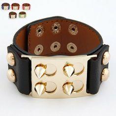 Fashion Euro American Punk Gothic Metal Rivet Leather Bracelet Chic Wide Bracelet