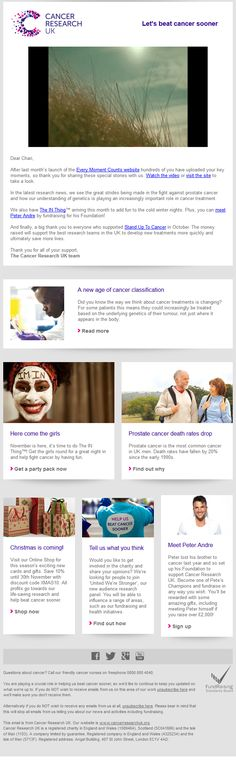 Charity Emails - Cancer Research UK - Every moment counts - Newsletter Layout