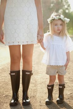 Mother Daughter Rain Boot Picture Outdoors Neutral Colorscheme