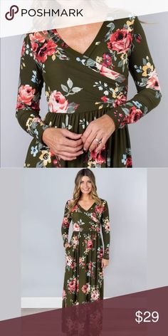 Boutique Style Floral Maxi Wrap Dress Boutique Style Floral Maxi Wrap Dress. Size Large. Runs true to size in my opinion. Comes with matching tie belt. Beautiful green color! Wear with your favorite scarf and boots for fall and winter or that perfect pair of wedges for spring and summer! So versatile! Dress it up or down. Material is soft and stretchy and super comfortable! Smoke free and pet free home Finding Modest Dresses Maxi