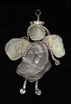 Sea Glass Angel with Amethyst Beach Glass Sea by oceansbounty, $28.00