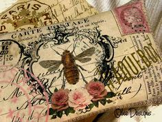 Crested Bee French Postcard Pillow with Roses @ Obee Designs Shop