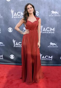 Lady in red! Cassadee Pope looked effortlessly chic in a red gown at the 2014 ACM Awards.