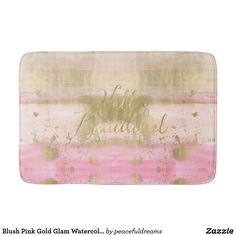 Blush Pink Gold Glam Watercolor Hello Beautiful Bathroom Mat