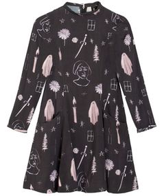 Premonition Passion dress by Samantha Pleet inspired by a happily haunted house by NY artist Jenna Gribbon. Dress Patterns, Pattern Dress, Print Patterns, Viscose Dress, Dark Fashion, Collar Dress, Flower Dresses, Fit And Flare, Short Dresses