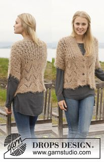 """Knitted DROPS jacket with lace pattern in """"Symphony"""". Size: S - XXXL. ~ DROPS Design"""