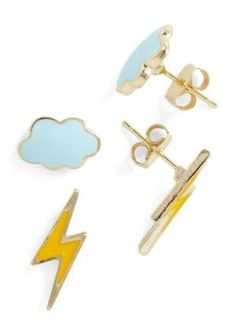 I want these just for the lightening bolts!!   Thunderstud Earrings | Mod Retro Vintage Earrings | ModCloth.com