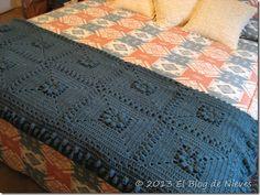 Crochet Afghan - manta azul petroleo