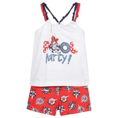 Red And Blue, Navy Blue, Blue Pool, Rubber Rings, Red Shorts, Kids Online, Outfit Sets, Shoulder Straps, Girls