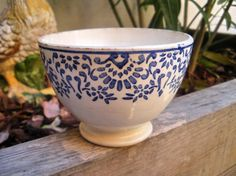 "Rare Vintage Small French Bowl Cafe au lait ""POCHOIR"" Digoin & Sarreguemines 1920"