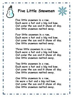 "A free, printable lyric sheet for the song ""Five Little Snowmen""."