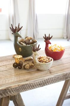 Kalalou Set of 3 Ceramic Deer Bowls - Sage Green, Red, White Add an extra holiday touch to your setting with these 3 artisanally crafted deer bowls in Green, Re