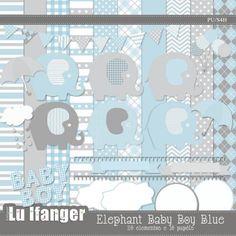 Kit Digital Elephant Baby Boy Blue by Lu Ifanger