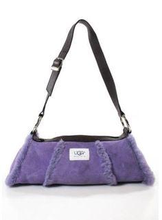 UGG AUSTRALIA Purple Suede Shearling Silver Tone Leather Trim Shoulder Handbag