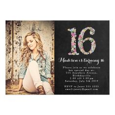 Chalkboard Floral Girls 16th Birthday Party Invite.   $2.20