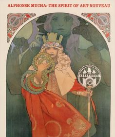 Front cover with Mucha's '6th Sokol Festival' and text in red at top 'Alphonse Mucha: The Spirit of Art Nouveau'