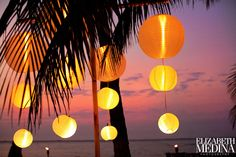 Night time ambiance for a beach wedding
