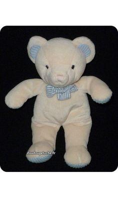 doudou ours beige bleu anna club plush