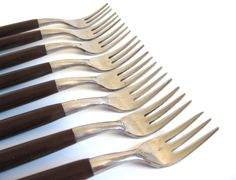 New to LaurasLastDitch on Etsy: American Tempo Cocktail Forks Flatware Set Stainless Steel Rosewood Handle Danish Modern Japan (32.99 USD)