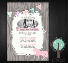Horse Birthday Invitation, Pony Birthday, girls birthday invite, horse, pony, chevron, horses, Vintage, shabby chic