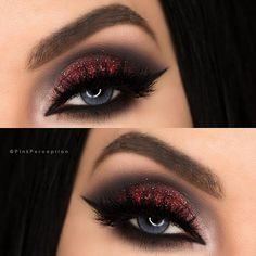 """Super GLAM Red & Black Smokey Eye…"" *Click Pic for Makeup Details*  (Pic: @pinkperception) ♡♥♡♥♡♥"