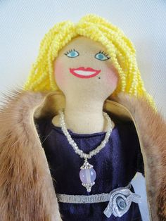 Blonde Doll in Fur Stole  Cloth Doll by  JoellesDolls, $35.00 Art Doll