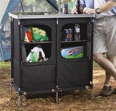 Every entertaining campsite needs a functional bar complete with an insulated cooler for frosty beverages, a cupboard, and a sturdy surface top to mix drinks on!