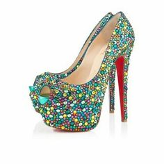 Christian Louboutin Highness Multicolor Strass with petite peep toe adds a provocative edge to her high design. Peep Toe Platform, Peep Toe Pumps, Pumps Heels, Stiletto Heels, High Heels, Platform Shoes, Heeled Sandals, Flats, Christian Louboutin Sandals