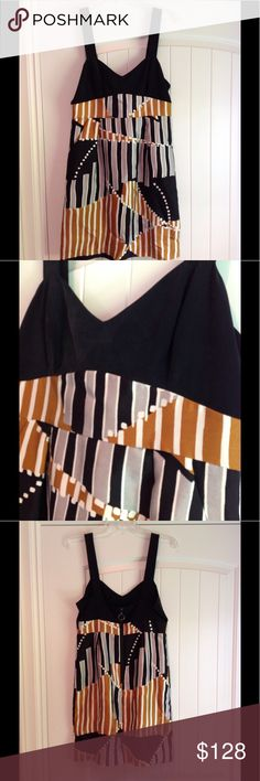 "Tibi Silk Dress Size 6 Copper, silver, black geometric design. Fun front pockets. Chunky exposed back zipper. Wide straps. Fully lined. Approx 35"" from top of shoulder to hem. Size 6 worn once! Tibi Dresses Mini"