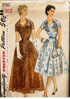 Simplicity 1582 - Misses' One-Piece Evening Dress for Daytime or Evening - 1956