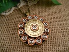 Items similar to Shotgun Shell Jewelry ~ 12 Gauge Remington Peters ~ Round Primer Necklace on Etsy Shotgun Shell Art, Shotgun Shell Jewelry, Ammo Jewelry, Shotgun Shells, Bullet Casing Crafts, Bullet Casing Jewelry, Bullet Necklace, Bullet Crafts, Redneck Crafts