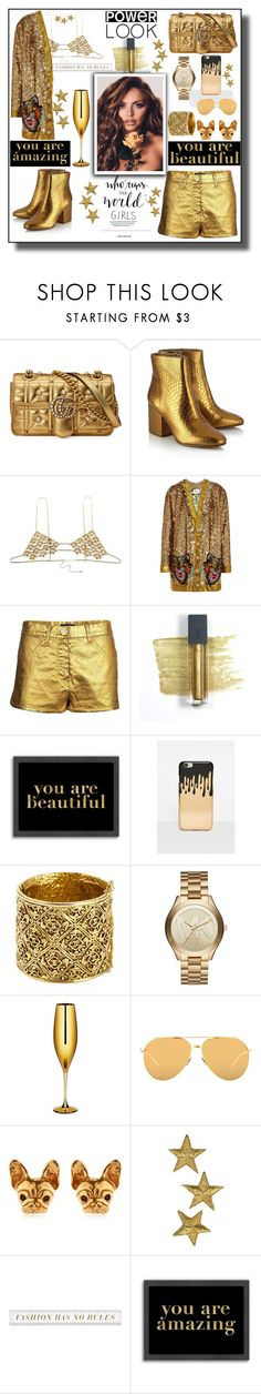 """""""My gold power look."""" by aura-helena ❤ liked on Polyvore featuring Gucci, Sam Edelman, Grace Bijoux, Chanel, Bite, Americanflat, Missguided, Michael Kors, Linda Farrow and gold"""