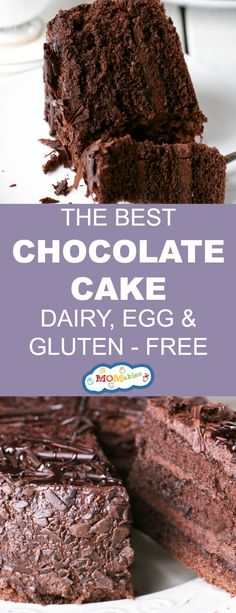 Gluten Free Recipes This gluten, dairy, and egg-free Chocolate Cake recipe is delicious, decadent, a. Egg Free Cakes, Gluten Free Cakes, Gluten Free Baking, Gluten Free Desserts, Eggless Desserts, Diet Desserts, No Bake Desserts, Healthy Desserts, Egg Free Chocolate Cake