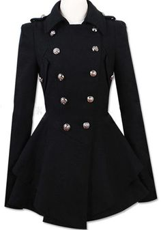 Black Plain Ruffle Epaulet Double Breasted Wool Coat - Outerwears - Tops