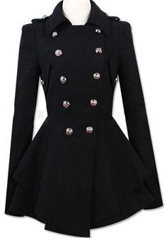 Black Plain Ruffle Epaulet Double Breasted Wool Coat - Outerwears - Tops