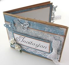 Invitasjon til konfirmasjon laget på brun papirpose. Laget av Anne Bente Album, Decorative Boxes, Anna, Scrap, Cards, Home Decor, Notebooks, Creative, Homemade Home Decor