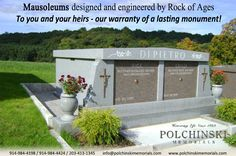 Mausoleums designed and engineered by Rock of Ages To you and your heirs - our warranty of a lasting monument!  #Mausoleums #monument