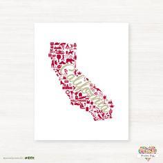 Santa Clara University - Spartans - California Landmark State Giclée Print  by PaintedPost
