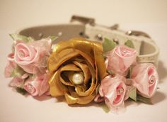 Gold Light Pink Wedding Dog Collar Gold & Pink by LADogStore, $42.99