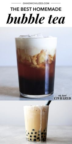 Yes, bubble tea can be made at home! A delicious bubble tea recipe made with black tea, chewy tapioca balls, and topped with a decadent cream froth. Coffee Breakfast Smoothie, Breakfast Smoothie Recipes, Milk Tea Recipes, Coffee Recipes, Coffee Milk Tea Recipe, Jasmine Milk Tea Recipe, Keurig Recipes, Nespresso Recipes, Low Carb Meal