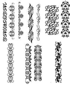 Elements of decorations set vector - Tattoos Mandala Drawing, Mandala Tattoo, Lavender Tattoo, Calligraphy Signs, Wrist Tattoos For Women, Simple Henna, Henna Tattoo Designs, Stencil Painting, Stencil Designs