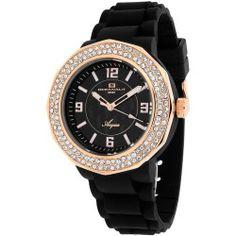 Oceanaut Acqua Womens Rose-Tone & Black Rubber Strap Watch