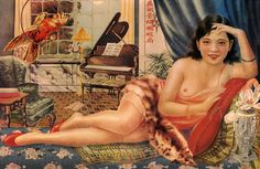 Kiwi's Angels: Old Chinese Advertisement for Cigarettes: Lady with Cockatoo