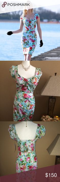 STOP STARING! BLUE FLORAL SWEET AND SEXY! BLUE FLORAL DRESS.  HUGS IN ALL THE RIGHT PLACES  Stop Staring Dresses Midi
