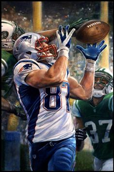 NE Patriots Rob Gronkowski by Brian Fox Gronk Patriots, Patriots Game, New England Patriots Football, Patriots Cheerleaders, Football Art, Football Memes, Sports Painting, Football Pictures, Sports Wallpapers