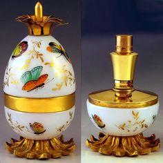 FRENCH OPALINE GLASS GILT BRONZE ENAMEL BUTTERFLY SCENT PERFUME BOTTLE ATOMIZER